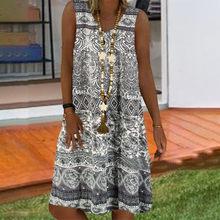 Vestidos de tanque vintage feminino verão flora impresso vestido sem mangas plus size com decote em v pulôver mini vestido longo verao