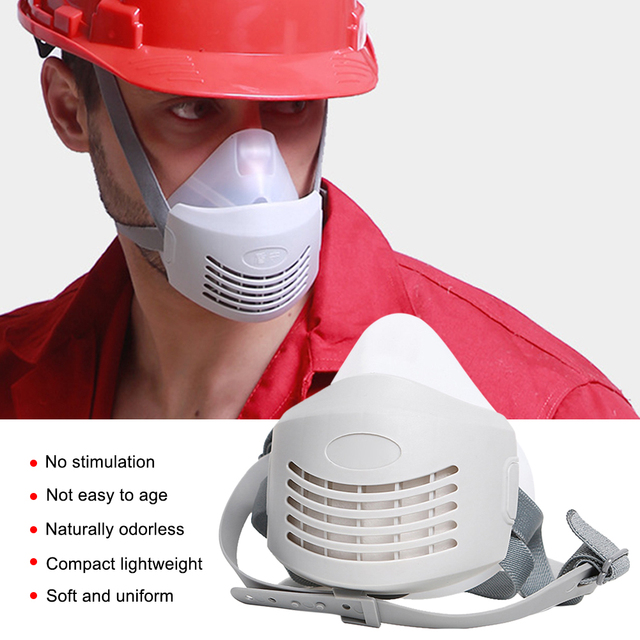 Anti Dust PM2.5 Mask Respirator Mask Industrial Protective Silicone Mask and Replaceable Cotton Anti-Dust Breathable Mask Filter 3