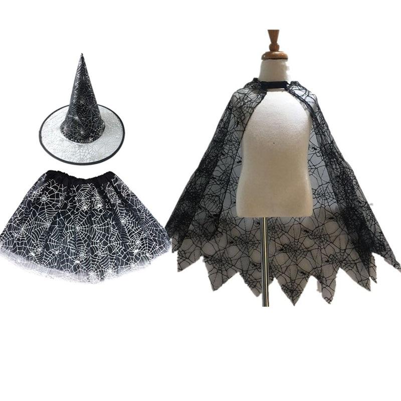 Kids Girls Children Halloween Spider Web Cloak Skirt Hat Witch Magic Wands Costume Fancy Dress Set Role Play Party Festival