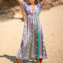 Женское пляжное макси платье с v образным вырезом бикини пляжная