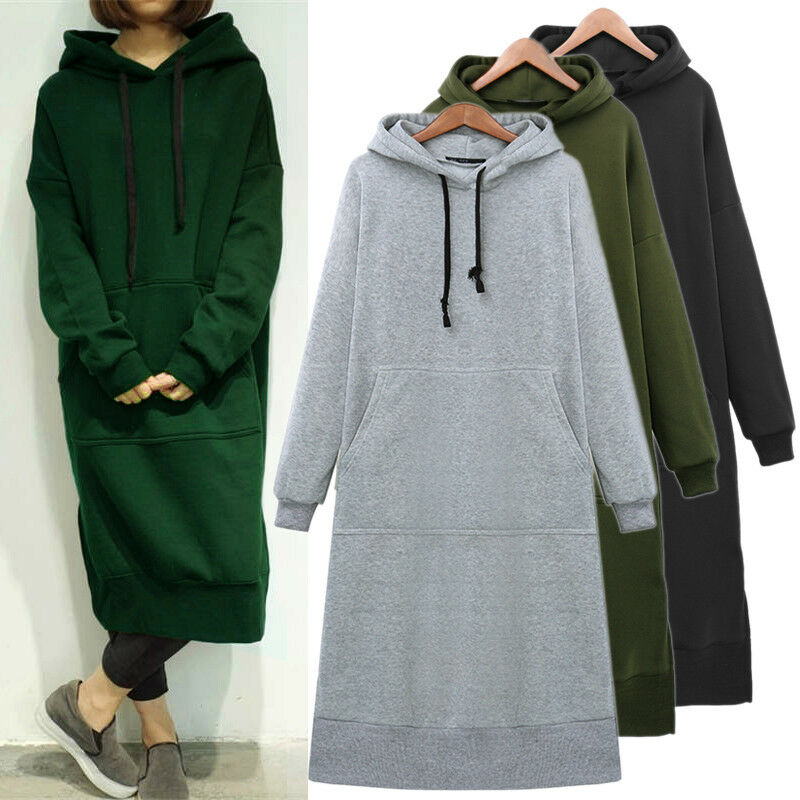 2020 Autumn Fashion Women Long Sleeve Loose Casual Long sleeve Sweater Sweatshirt Sweats Hoodies Long Maxi Dress