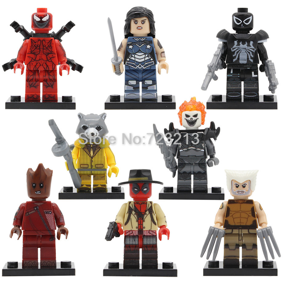 Single Super Hero Agent Venom Figure Deadpool Wolverine Raccoon Lasher Wonder Woman Ghost Rider Buidling Blocks Toys Legoing