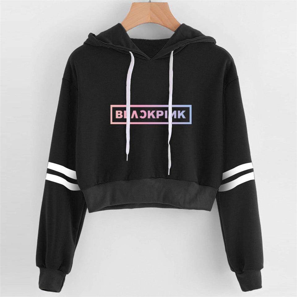 Female Idol Group BLACKPINK Cropped Hoodie Sweatshirt Women Sexy Harajuku Black Pink Crop Hoodies Streetwear Jacket KPOP Clothes