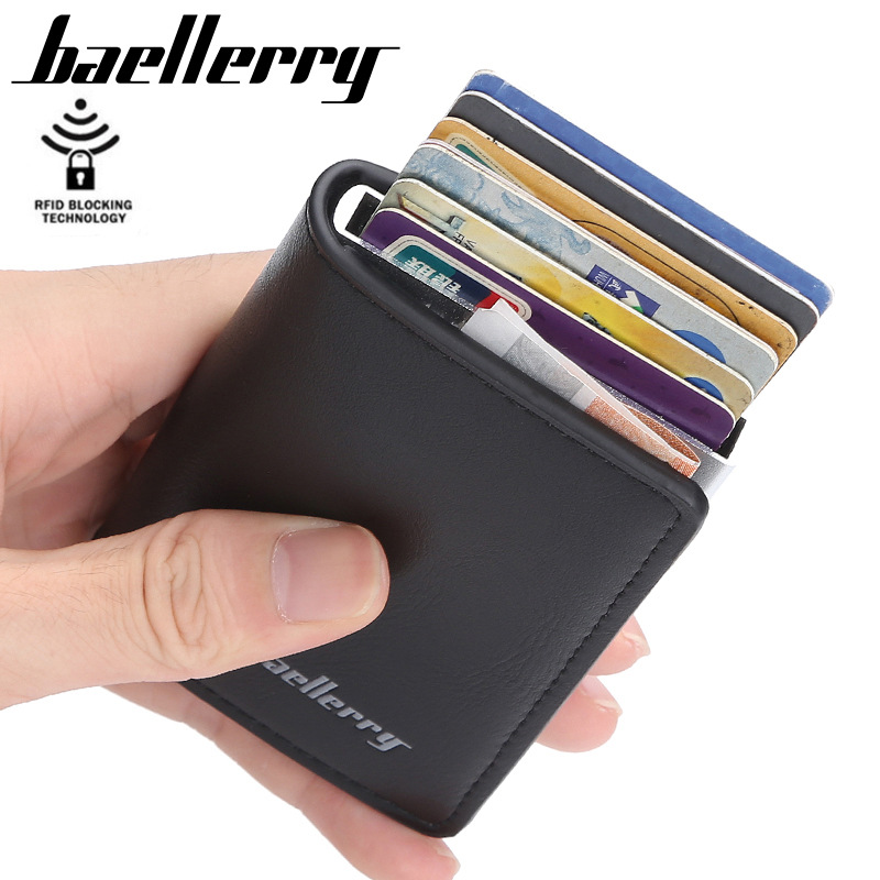 Rfid Card Holder Men Wallets Card Wallets Male Vintage Black Short Purse Small Leather 2019 Slim Wallets Mini Wallets Thin