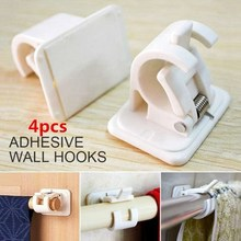 2Set 4Pcs Self-Adhesive Hooks Wall Mounted Curtain Rod Bracket Shower Curtain Rod Fixed Clip Hanging Rack(China)
