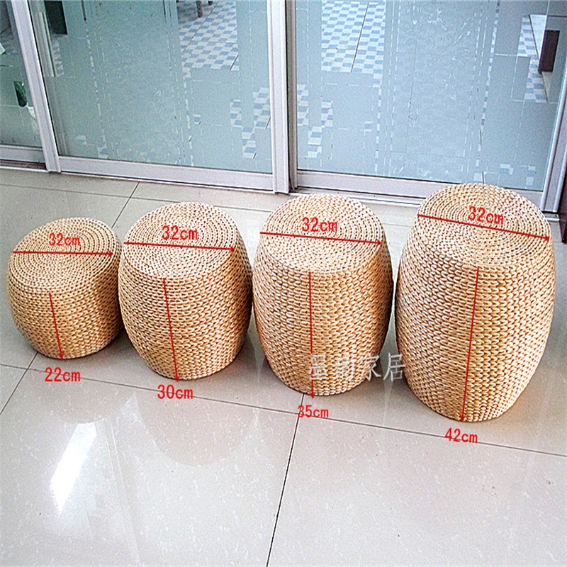 Straw Footstool Handmade Wicker Low Stool Taboret Sofa Ottoman Shoes-changing Stool