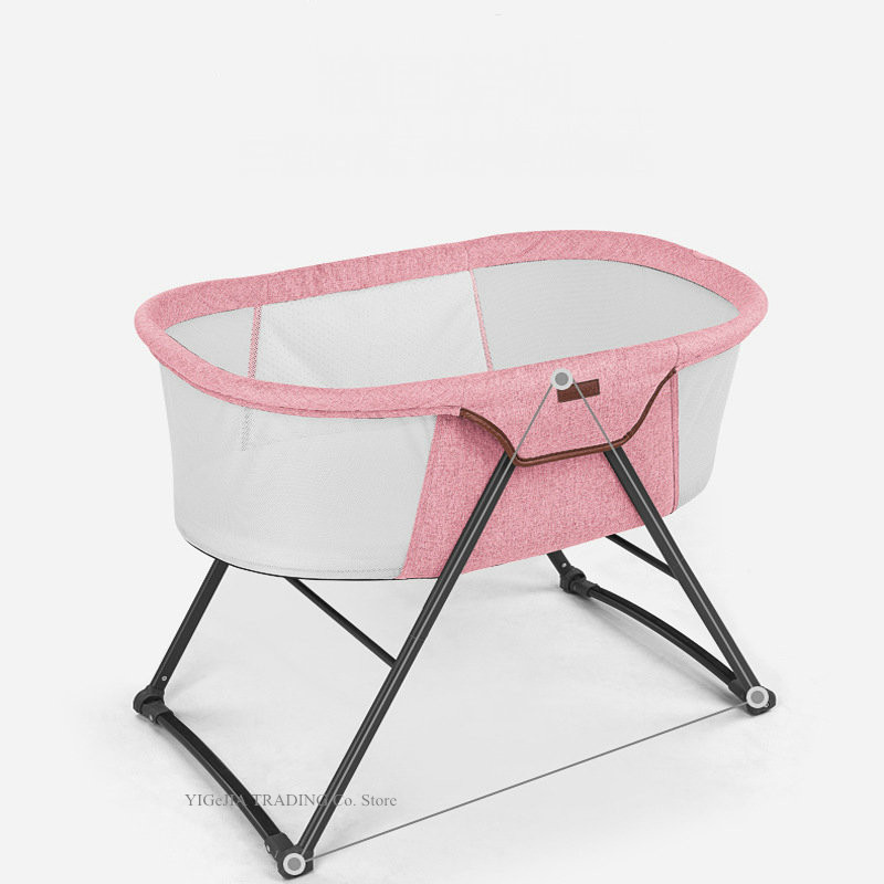 4 In 1 Lightweight Travel Bed Cradle With Hidden Wheels, Rocking Bassinet With Portable Bag&Washable Cover, Pink Rocking Cradle