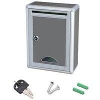 빈티지 알루미늄 합금 잠글 수있는 보안 메일 편지 게시물 상자 사서함 게시물 상자 홈 정원 장식 장식