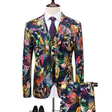 Blazers Broek Vest Sets/Mode Men Casual Boutique Blossom Print Jas Broek Vest 3 Stuks suits