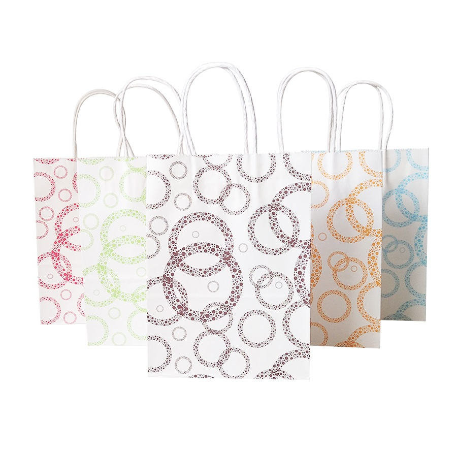 16x22cm papier Kraft sac coloré points papier cadeau sacs avec poignées magasins bébé douche fête de mariage décoration 100 pcs/lot