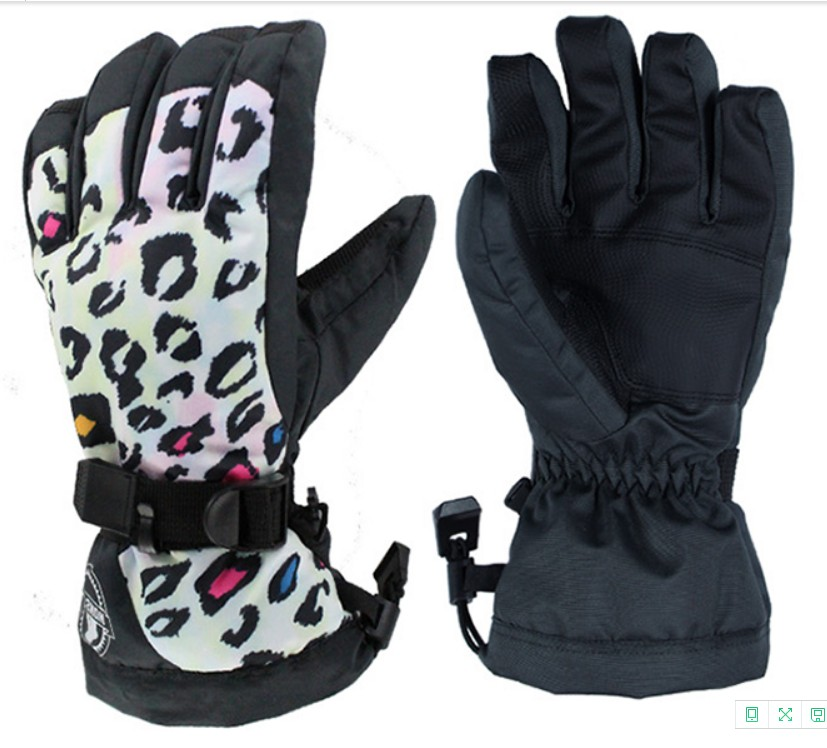 Womens Leopard Ski Gloves Female Waterproof Skateboarding Gloves Touch Screen Design Autumn Winter Outdoor Sports Gloves