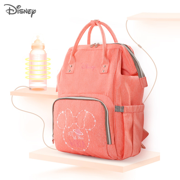Disney Diaper Bag Mummy Backpack USB Bottle Heating Baby Bag Mommy Maternity Mother Nappy Stroller Backpack Wet Bag Mickey Mouse