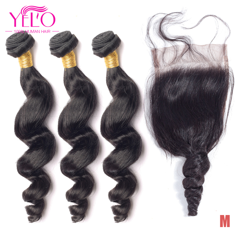 YELO Brazilian Remy Hair Bundles 3pcs Loose Wave With 4X4 Lace Closure With Baby Hair Middle Ratio Natural Color Weaves