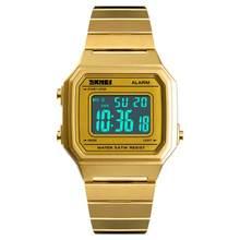 SKMEI Luxus frauen Gold Digitale Uhr LED Quadratische Wasserdichte Retro Armbanduhr Unisex Elektronische Damen Uhr Relogio 1377