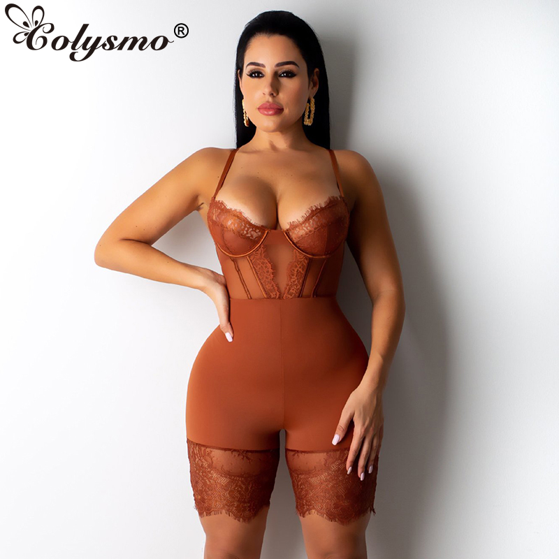 Colysmo Lady Sexy Jumpsuit Women Sleeveless Solid Bodycon Rompers Womens Lace Bodysuit Super Short Playsuits Sling Club Overalls