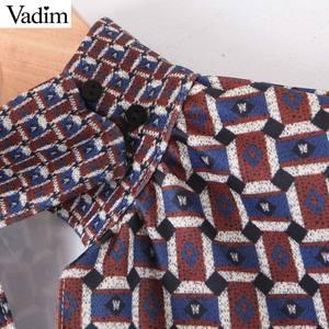 Image 3 - Vadim Vrouwen Chic Oversized Print Blouse Lantaarn Mouw Vintage Overhemd Vrouwelijke Stijlvolle Office Wear Chic Tops Blusas LB792