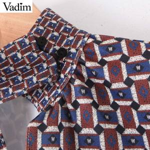Image 3 - Vadim women chic oversized print blouse lantern sleeve vintage shirt female stylish office wear chic tops blusas LB792
