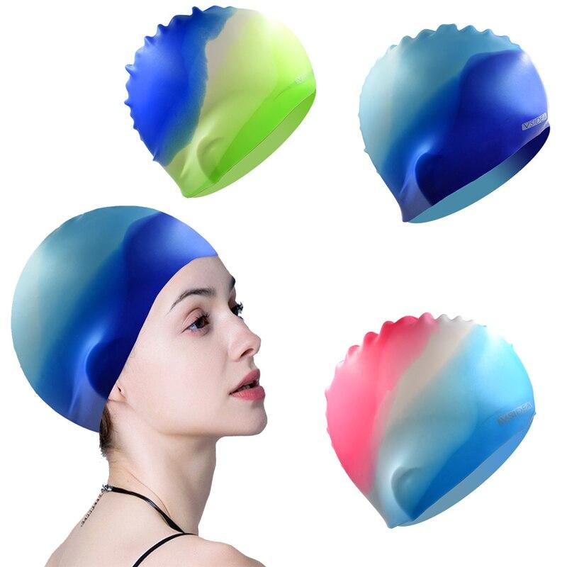 Swim Cap Adult Comfortable Silicone Bathing Swimming Cap Long Hair Women Durable Non-Slip Waterproof with Multi Color Cap