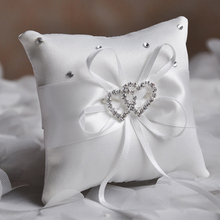 20x20cm Wedding Confession Ring Pillow Ribbon Bow Rhinestone Love Heart Satin Cushion European Party Supplies
