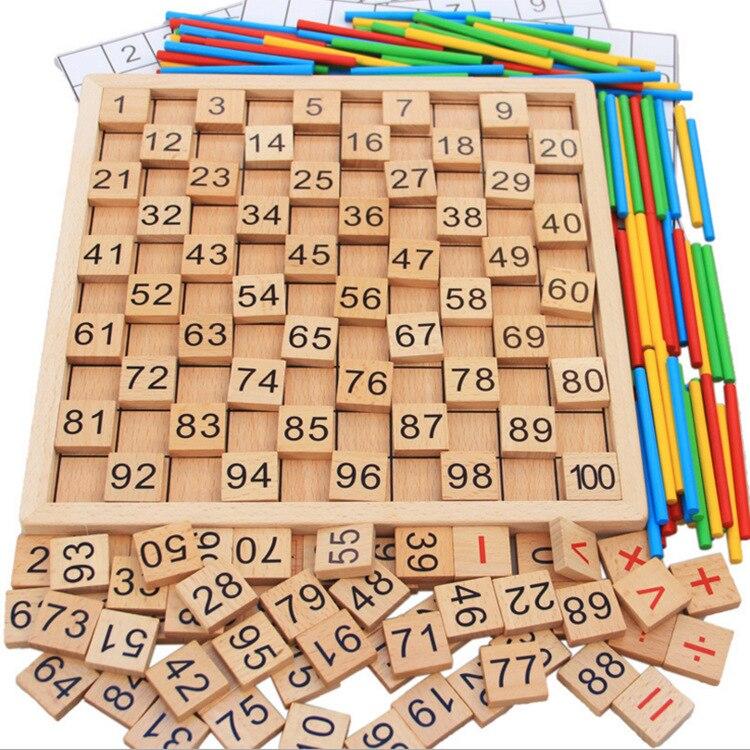 Bois Montessori aides pédagogiques calcul mathématique caractères chinois dominos cognitifs 1 100 avec numéros plaque continue - 2
