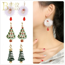 Merry Christmas Earrings For Women Santa Claus Ornament Earrings Girl Gift Xmas Tree aretes Female Long Dangle Earring K5 santa claus enamel christmas dangle earrings
