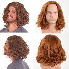 GURUILAGU короткие волнистые парики для мужчин, Короткие парики машинной работы, мужской парик из синтетических волос для косплея, парик из терм...