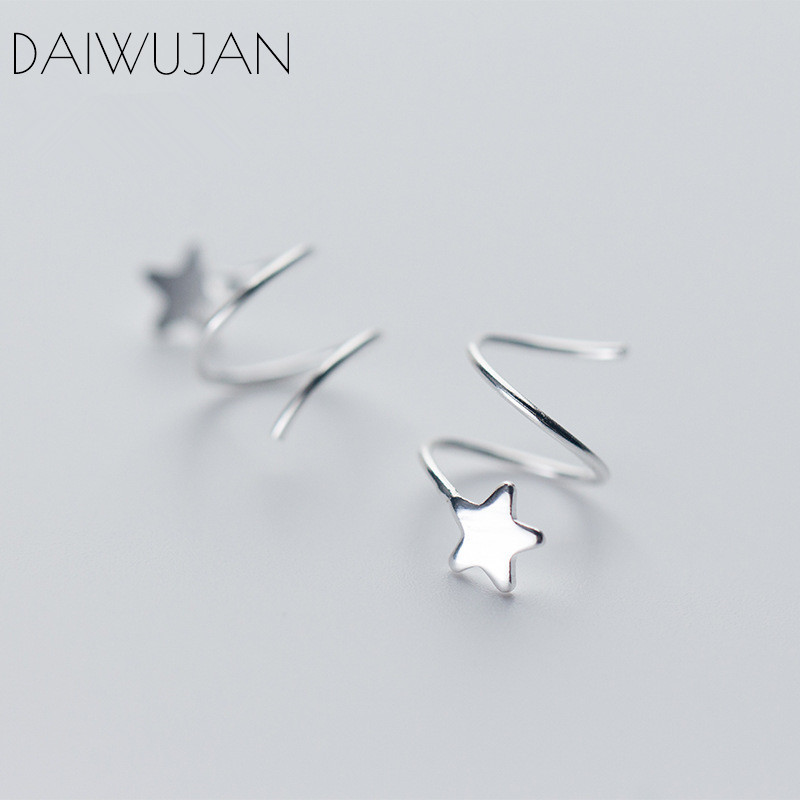 DAIWUJAN Personality 925 Sterling Silver Glossy Star Rotating Wave Ear Clip Earrings For Women Fine Jewelry Party Bijoux in Earrings from Jewelry Accessories