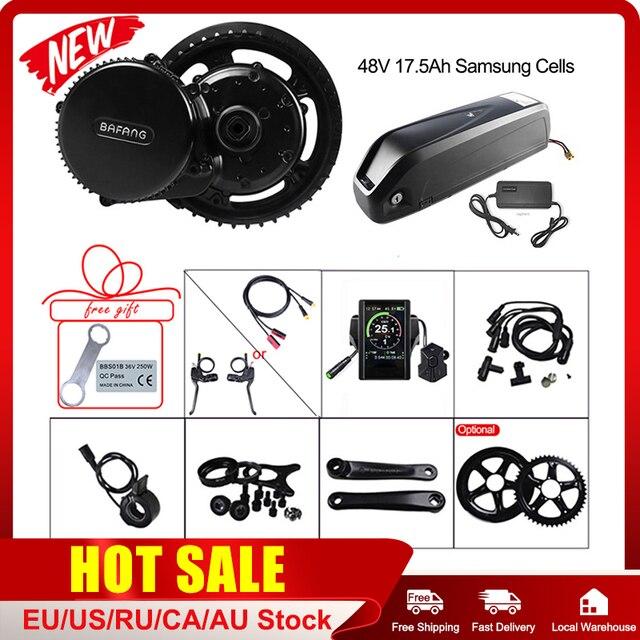 Atualizar BBS02B 48V 750W Bafang Motor de Meados de Carro Kit de Conversão Bicicleta Elétrica com Bloqueio 17.5Ah Bicicleta Bateria de Celular Samsung