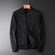 Minglu Spring Autumn New Camouflage Add Velvet Mens Jacket Hight Qulity Fashion Thin Casual Slim Fit Black Stand Collar Jcaket