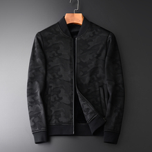 Minglu 春秋の新迷彩追加ベルベット男性のジャケット絶頂 qulity のファッション薄型カジュアルスリムフィット黒スタンド襟 jcaket