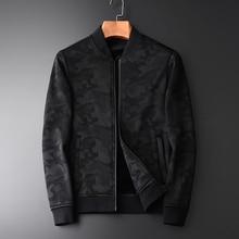 Minglu ربيع الخريف جديد التمويه إضافة المخملية الرجال سترة عالية كوليتي الموضة رقيقة عادية بدلة سوداء ضيقة من الخصر الوقوف طوق Jcaket