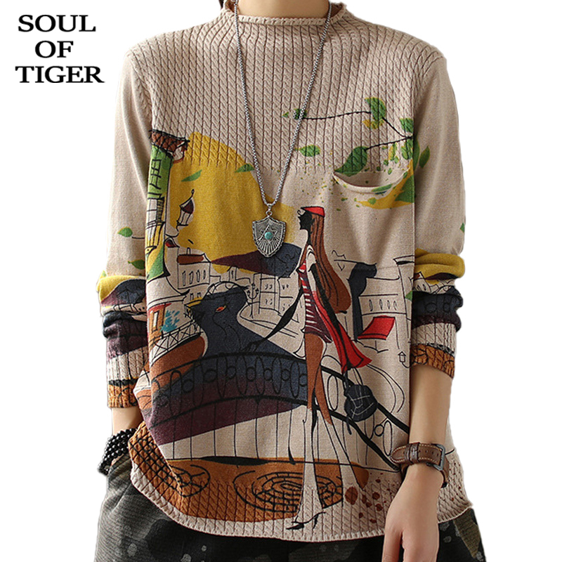 SOUL OF TIGER 2019 England Fashion Ladies Winter Knitted Pullovers Womens Casual Printed Sweaters Thick Warm Oversized Jumpers