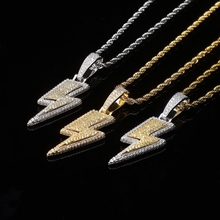 Necklace-Chains Jewelry Lightning Men's Pendant Party-Biker Hip-Hop Full-Zircon Boys