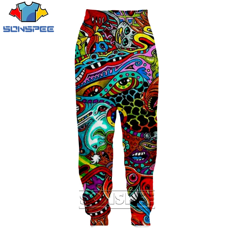 Casual Sweatpants Trousers 2019 SONSPEE 3D Print Men Women Loose Unisex Hip Hop Beam Foot Joggers Psychedelic Gorgerous Printed