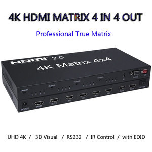 Image 2 - 4X4 HDMI 2.0 Matrix 4K 60Hz 1080p Switcher Splitter 4 Input 4 Out Converter RS232 EDID Switch for PS4 XBox PC Output to TV HDTV