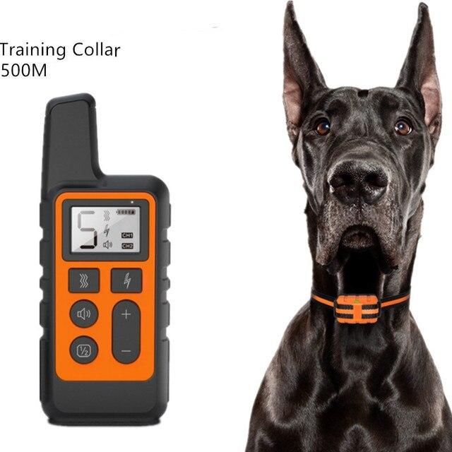 500M Collare di Addestramento Del Cane Pet Collare di Controllo Elettrico A Distanza Impermeabile di Addestramento Del Cane Ricaricabile Strumento con Display LCD 30% di sconto