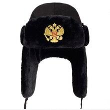 2019new Men Russian national emblem Lei Feng Winter Hat Aviator Outdoor Ear Flap