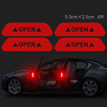 4Pcs/Set Car Open Reflectante Tape Warning Mark Reflective Open Notice Bicycle Accessories Exterior Door Car Reflective Sticker warning caution mark anti collision prevention reflective open logo ho car auto motorcycle door trunk decal sticker car styling