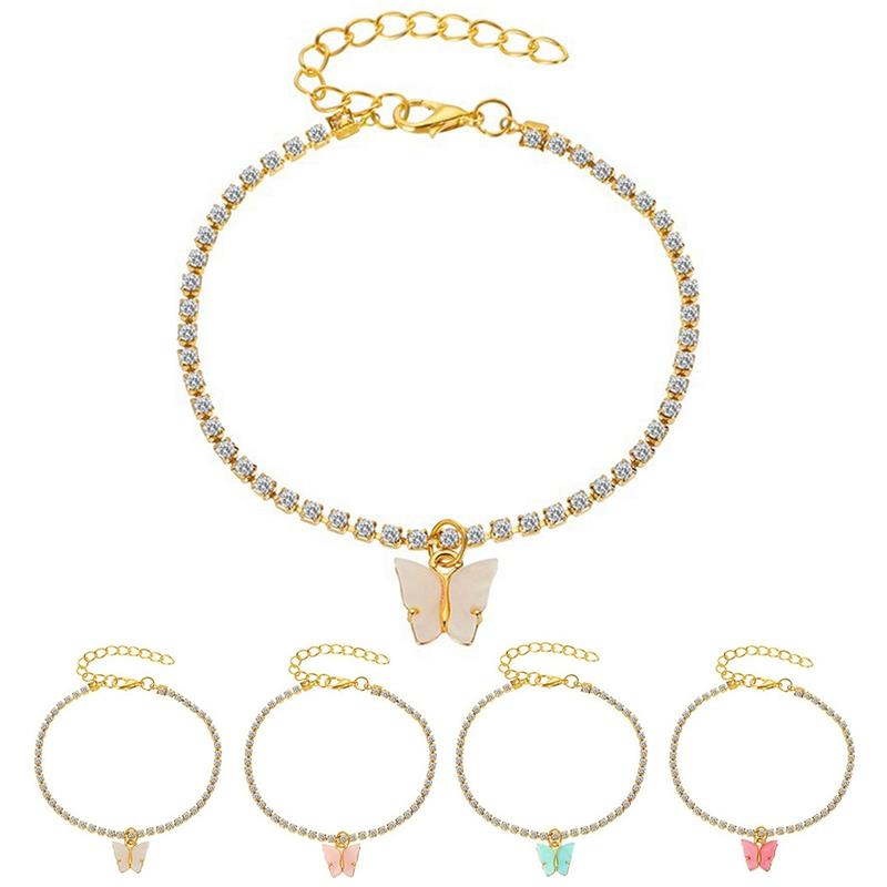 1pc Fashion Butterfly Rhinestone Decor Pendant Anklet Adjustable Ankle Bracelet Beach Foot Chain For Women Jewelry Accessories