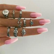 Нержавеющаясталь Хэллоуин ювелирные изделия для Для женщин кольцо змея ювелирные изделия, слисерин, панк кольцо Masculino набор колец