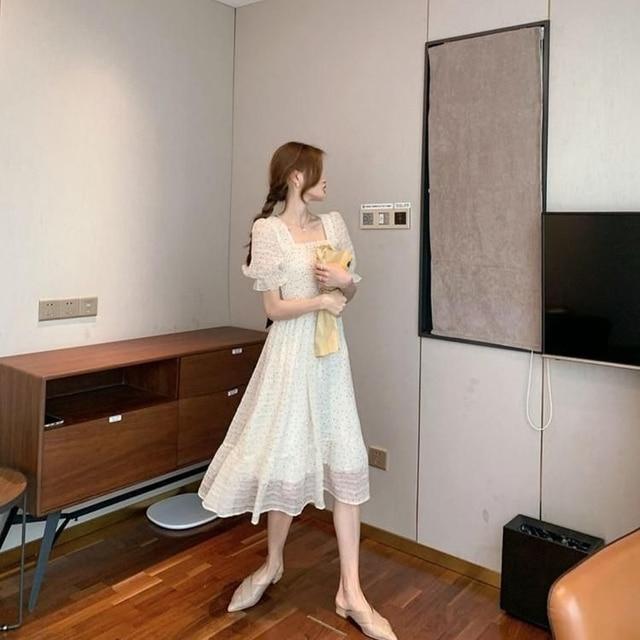 2021 Summer Floral Design Sweet Dress Short Sleeve Chiffon Elegant Dress Korean Style Square Collar Party Dress for Female Dot 5