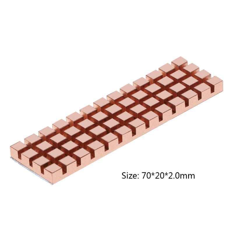 Disipador de calor de cobre puro disipador térmico adhesivo térmico conductivo para m2 NGFF 2280 PCI-E NVME SSD 70x20MM espesor 1,5/2/3/4 MM
