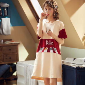 Image 5 - BZEL Fashion Women Night Skirt Spring Leisure Cotton Home Clothes Short Sleeve Nightgown Cartoon Ladies Sleepwear Pijamas Pyjama