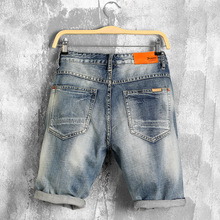 High Quality Summer Denim Shorts Male Jeans Men Jean Shorts Bermuda Skate Board Harem Mens Jogger Ankle Ripped Wave Hole Jeans