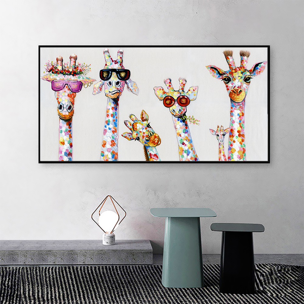 DDHH Wall Art Canvas Print Color Animal Picture Giraffe painting  Family For Living Room Home Decor No Frame