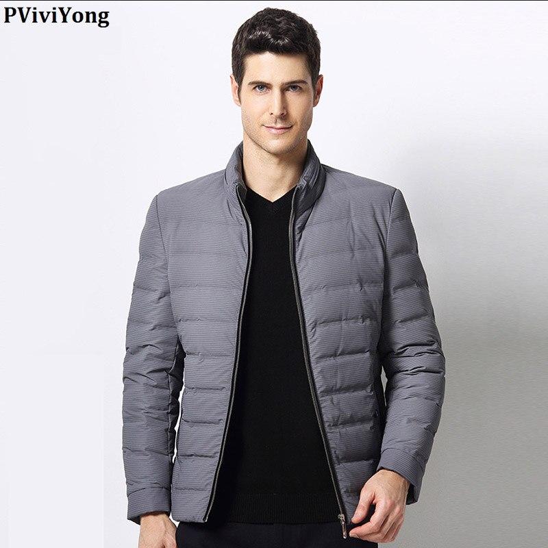 PViviYong 2019 Winter hohe qualität weiße ente unten jacke männer, stehkragen kurze absatz zipper parka Mantel männer 1690 - 3
