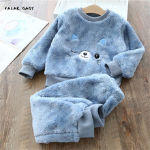 Kids Pajamas Set Baby Boy Girl Clothes Flannel Fleece Toddler Child Warm Catoon Bear Sleepwear Home Suit Winter 1-8Y