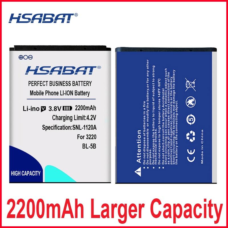 HSABAT 2200mAh BL-5B Battery for Nokia 3230 5070 5140 5200 5300 5500 6020 6021 6060 6070 6080 6120 6120C 7260 7360 7620 N80 N90(China)