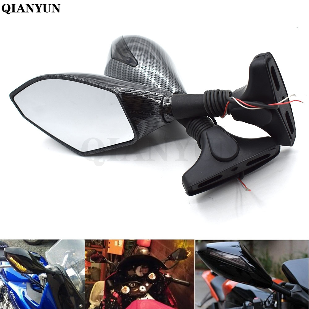 Rear View Mirrors With Turn Signal LED For Yamaha YZF R6 R6S YZF600 FZ1