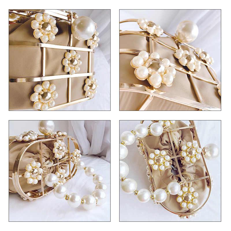 Perle Korb Abend Kupplung Tasche Frauen Berühmte Marke Aushöhlen Blumen Perlen Metallic Clutch Geldbörse Koreanischen Eimer Handtasche Partei